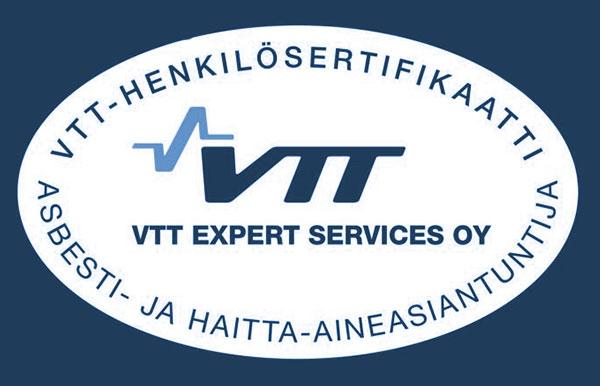 VTT:n henkilösertifikaatti - asbesti- ja haitta-aineasiantuntija